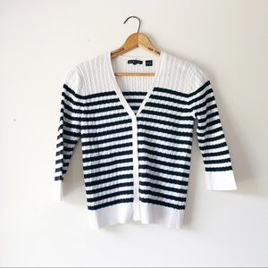 Black and white striped cable knit sweater M